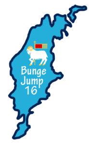 Logotyp i form av Gotlands konturer. Texten Bunge Jump 16 samt ett får och gotlands flagga finns i mitten av ön.
