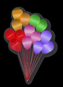 Bild på ballonger som beskriver de olika målspår i Scouternas program