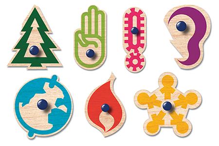 bild på symboler som föreställer de olika delarna i scoutmetoden