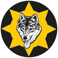 Kursmärke med en varg i mitten omgiven av en gul sol