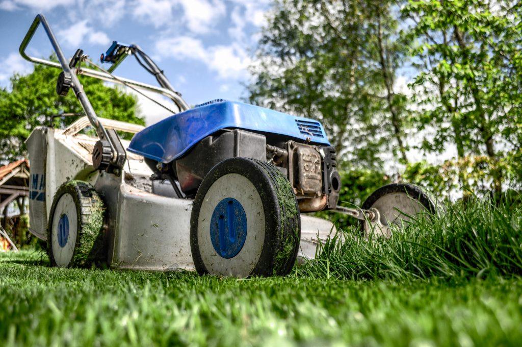 En blå gräsklippare som klipper grönt gräs